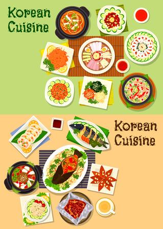 galleta de jengibre: conjunto de icono de la cocina coreana y asiática de platos de pescado con verduras, sopa de carne de cerdo kimchi, fideos fríos, carne y sopa de pato, hortalizas, frijol y mariscos ensaladas, verduras marinadas, carne, bacalao, galletas de jengibre
