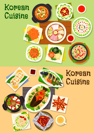Korean and asian cuisine icon set of fish dishes with vegetables, kimchi pork soup, cold noodles, beef and duck soup, vegetable, bean and seafood salads, marinated veggies, beef, cod, ginger cookie Illustration