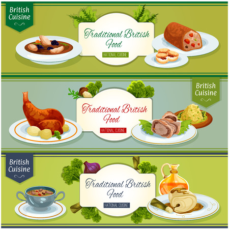 British cuisine national dishes banner set. Beef wellington baked in pastry, scottish chicken soup, baked rabbit, kidney soup, cod in mustard sauce, fruit cake, scones with jam, smoked fish pate Illustration