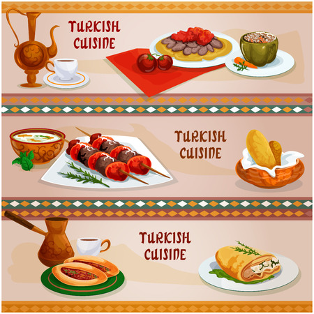 Turkish cuisine meat dishes banner set. Lamb shish kebab on skewers, stuffed pepper, iskender kebab with tomato sauce on pita bread, meat pie pide, rice mint soup, puff pastry pie with cheese