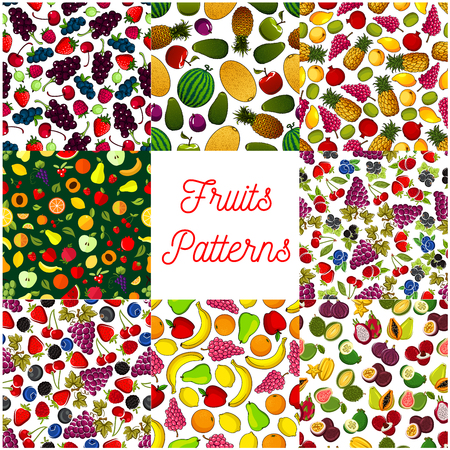 berry fruit: Fruit and berry seamless pattern background set of apple, strawberry, orange, banana and cherry, grape, mango, papaya, pineapple, peach and feijoa, lemon and plum, watermelon. Fruit background for food design