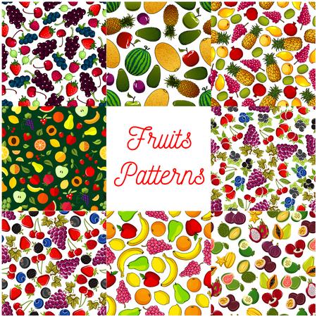 grape fruit: Fruit and berry seamless pattern background set of apple, strawberry, orange, banana and cherry, grape, mango, papaya, pineapple, peach and feijoa, lemon and plum, watermelon. Fruit background for food design