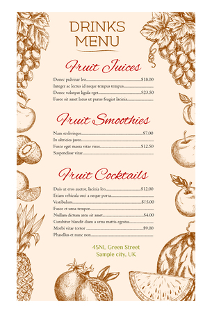 grape fruit: Drinks menu with fruit juice, cocktail and smoothie, supplemented by sketched apple, orange, grape, plum, pineapple, watermelon, kiwi, pomegranate. Fruit drinks menu with prices layout for cafe design