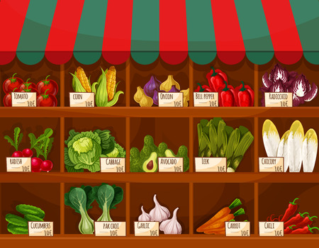 Vegetable and fruit market stall with price labels. Farm market stand with tomato and carrot, pepper, onion and chili, radish, corn and cabbage, garlic and cucumber, avocado and leek, chicory, bok choy and radicchio