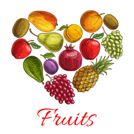 grape fruit: Fruit heart sketch poster. Love fruit symbol with fresh orange, apple, grape, pineapple and mango, plum and peach, kiwi and pear, avocado and pomegranate. Healthy dessert, drink and food design