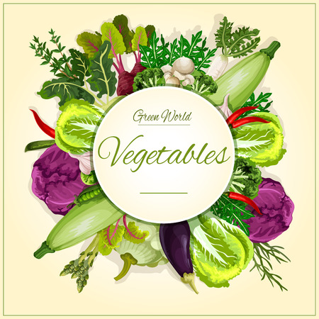 patty: Vegetable, mushroom and salad leaf poster. Broccoli, cabbage, chilli pepper, eggplant and garlic, radish and beet, zucchini and green pea, champignon and kohlrabi, asparagus, patty pan squash, vegetable greens