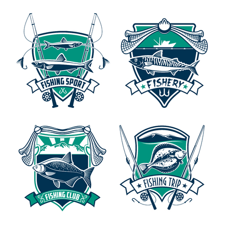 fishery: Fishing sport club heraldic badge set. Fish, rod, hook, bait and nets on shield with ribbon banner. Fishing trip, fishery or sporting competition symbol design