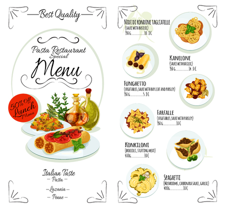 lasagna: Pasta menu template of italian cuisine restaurant. Spaghetti with tomato, cheese, basil and mushroom, stuffed pasta with vegetables and meat, seafood lasagna dishes list with prices and ingredients Illustration