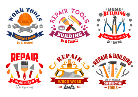 industry design: Repair tool and building instrument badge set. Hammer, spanner, pliers, saw, paintbrush and roller, spatula, trowel, nails and hard hat with ribbon banner. Repair tool shop, building industry design