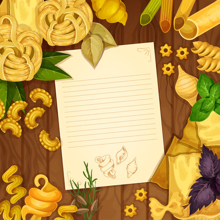 cooking recipe: Italian cuisine cooking recipe with blank paper and pasta on wooden background. Italian dried pasta, penne, lasagna, farfalle and basil leaves background with copy space for recipe or menu card design