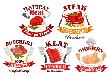 meat steak: Meat shop and butchery symbol set. Fresh chicken, beef steak and ribs, pork chops and tenderloin slices, framed with ribbon banner, knives and chef hat. Meat farm, steak house menu design Illustration