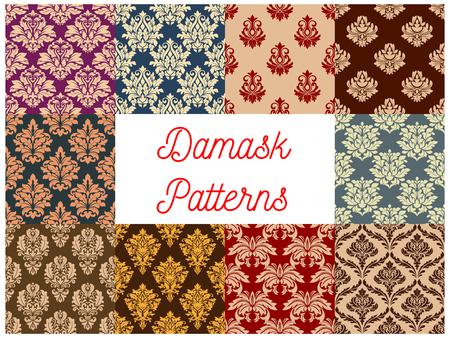 ornate swirls: Damask ornate floral seamless pattern background set. Baroque floral ornament with flowers, composed of leaf swirls and flourishes. Vintage wallpaper, embellishment design Illustration