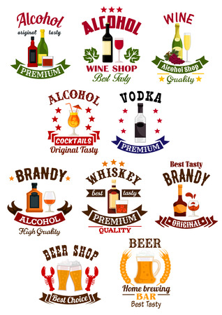 alcohol drinks: Alcohol drinks badge set. Wine, beer, vodka, cocktail, whisky, brandy and champagne, supplemented by ribbon banner, wheat, grape bunches and stars. Liquor store, wine shop, bar or brewery sign design
