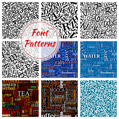 arithmetic: Number and letter font seamless pattern background with arithmetic digits, alphabet symbols, water, coffee and tea word clouds. Scrapbook page backdrop and education theme design