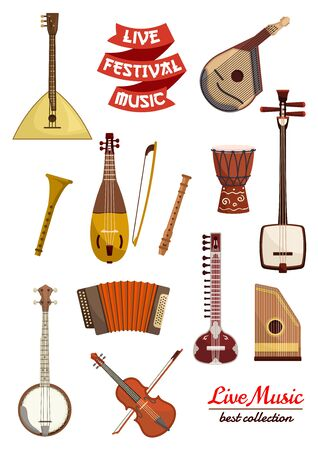 flute music: Musical instrument cartoon icon set. Violin, drum, lute, balalaika, flute, mandolin, banjo and sitar, accordion and rebec, psaltery and ribbon banner with text Live Festival Music. Arts, music theme design