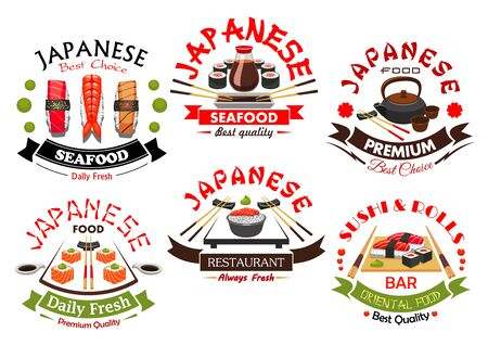 oriental cuisine: Japanese sushi bar and seafood restaurant symbol set. Japanese cuisine nigiri and roll sushi with salmon, shrimp, tuna and avocado, traditional tea set, soy and wasabi sauce with chopsticks