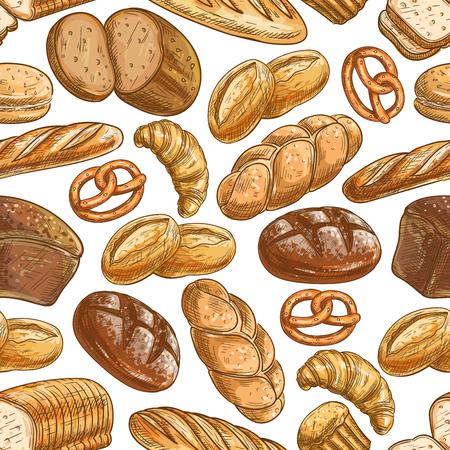 Bakkerij brood en gebak dessert naadloze patroon van de geschetste gezonde roggebrood, tarwe lang brood, stokbrood, croissants, cupcake, broodje hamburger, challah, toast, taart en pretzel Stock Illustratie