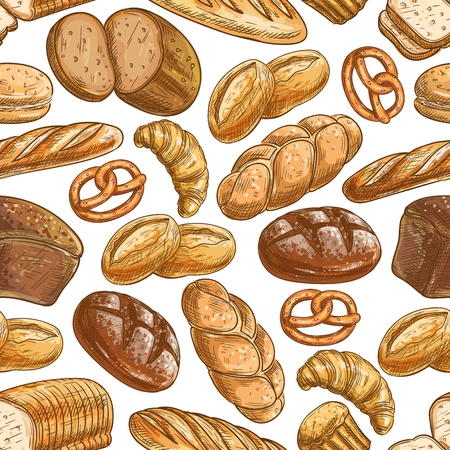 Bakery bread and pastry dessert seamless pattern of sketched healthy rye bread, wheat long loaf, baguette, croissant, cupcake, burger bun, challah, toast, pie and pretzel Illustration