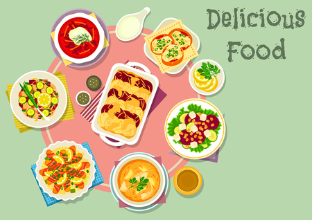 Fish and vegetable dishes icon with vegetable fish salad, pasta topped with fish in bacon, fish cupcake, beet salad with cheese and nut, potato beet casserole, beet ginger soup, fish millet soup