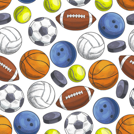 color balls: Sport balls seamless pattern. Vector pattern of color sketch icons of sports gaming balls for rugby, football, soccer, baseball, basketball, tennis, hockey puck, bowling, volleyball