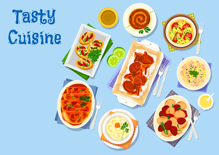 tomatoes: Potato dishes for dinner icon of potato stuffed with bacon, cheese, egg salad with squid and sausage, chicken lasagna, potato sausage, pork with mushroom and rice, potato tomato casserole, lamb stew Illustration