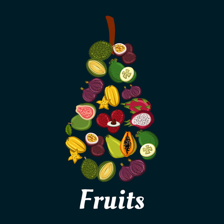 exotic fruit: Pear fruit silhouette with exotic tropical papaya, passion fruit, feijoa, carambola, dragon fruit, fig, durian, lychee and guava flat icons. Fruit dessert, cocktail menu, juice packaging design Illustration