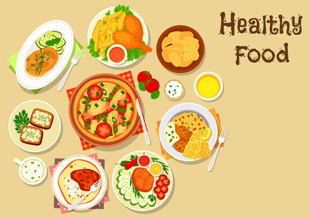 cottage cheese: Potato, meat, cheese dishes icon of tomato cheese pizza, chicken leg with fries, grilled beef steak with vegetables, potato chips, baked pork and chicken with veggies, cottage cheese sandwich, falafel