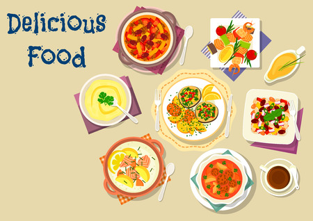 grilled salmon: Popular soup and salad dishes icon with meatball tomato soup, grilled seafood with vegetables, bean beef stew, salmon cream soup, fried fish with potato, bean salad, chickpea mash Illustration