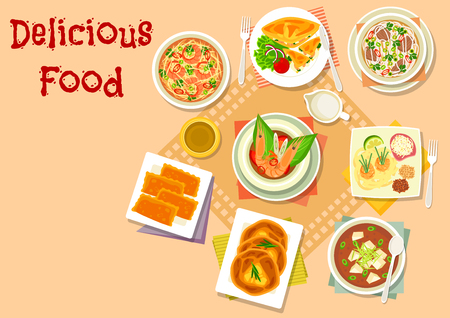 Asian soup with savory pastry icon of chicken cheese pie, japanese miso soup with tofu, thai shrimp soup with ginger, fried noodle, cheese and egg bread, korean beef noodle soup, meat patty Illustration