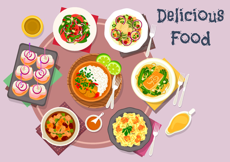 curry rice: Hot meat dishes with fish snack and salad icon of salmon pasta with cheese, beef bean stew, salmon noodle with bean, pork curry, potato pancake with herring, beet herring salad, orange almond salad