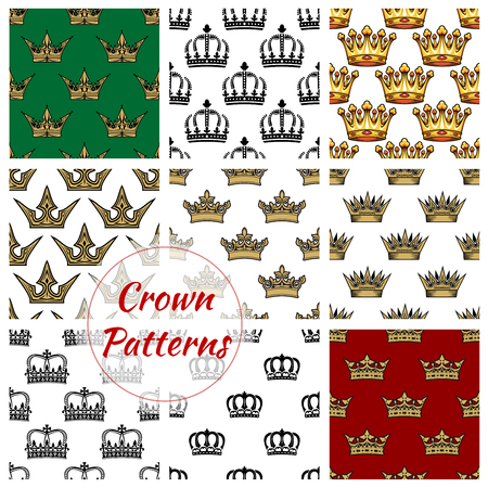 pattern antique: Crown seamless pattern set. Royal background with crown of king, princess diadem and queen tiara. Monarchy theme, scrapbook page backdrop design Illustration