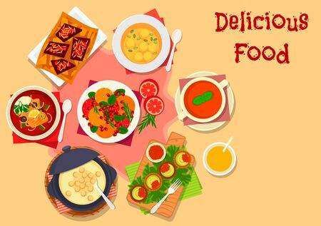 Healthy soup with fruit salad icon of fish tomato soup with olives, orange pomegranate salad, tomato bread soup, avocado tartlets with red caviar, potato cream soup, chocolate with berry, pumpkin soup