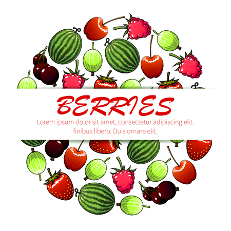 Berry fruit poster of sweet cherry, strawberry, watermelon, raspberry, currant and gooseberry fruits placed in a circle shape. Vegetarian dessert, juice menu design template with copy space