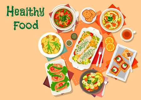 noodle soup: Mushroom and fish lunch dishes icon with vegetable fish salad, chicken leg stuffed with mushroom rice, honey agaric noodle soup, cabbage pork soup, potato with ginger, baked cod, mushroom caviar toast Illustration
