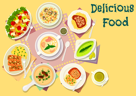 cream cheese: Popular soup with meat and fish dishes icon of chicken celery salad, pork cutlet with cheese crust, mushroom cream soup, chicken ham soup, baked pork and fish with mushroom and nuts, herring salad