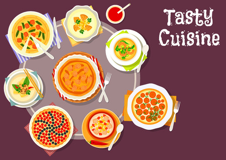 Sweet and savory pastry dishes with soup icon of vegetable meat pie with egg, cheese cake with carrot, cream soup with shrimp, pork, mushroom and corn, berry custard pie, salmon pie