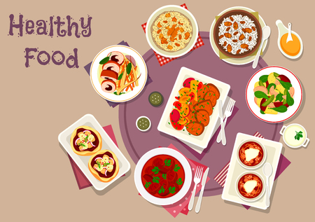 prune: Tasty dinner with dried fruits icon of pizza with cheese, vegetable salad with fish, rabbit roll with prune, baked pork with plum, wheat and rice pudding with raisins and nut, beef stew, beet soup