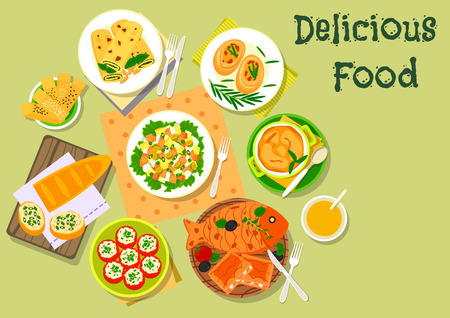 Fish and cheese dinner dishes icon with tomato stuffed with cheese, vegetable salad with salmon, potato casserole, cheese bread stick, fish pie, pancake with pesto sauce, fish cutlet, herring sandwich Illustration