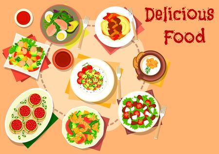 Snack en salade gerechten icoon met garnalen en fruit salade, gevulde pasta met tomatensaus, avocado salades met tonijn, ei en peer, tomaat feta salade, bloemkool crème soep en aardappelpuree met rundvlees