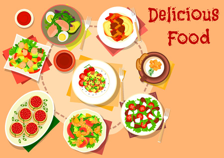 Snack and salad dishes icon with shrimp and fruit salad, stuffed pasta with tomato sauce, avocado salads with tuna, egg and pear, tomato feta salad, cauliflower cream soup and mashed potato with beef Illustration