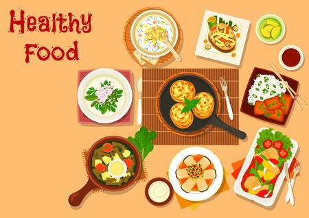 russian cuisine: Chinese cuisine fish dishes icon served with vegetables and rice, salmon steak with grilled veggies, fish cutlet, russian cold soup with rye bread beverage and yogurt, sorrel soup with egg Illustration