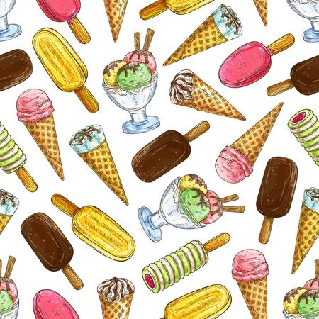 Modèle de crème glacée. Modèle vectoriel d'éléments de crème glacée tarte eskimo, glace congelée, sorbet, gelato, sundae, cuillères dans des cônes et des tasses. Fond de croquis de décoration pour carte de menu de café, conception de restaurant Banque d'images - 69806750