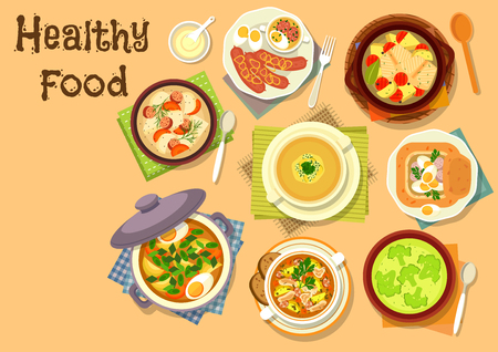 Healthy lunch with soup dishes icon of fish vegetable soup, beef sorrel soup with egg, broccoli cream soup, oat soup with sausage, egg and mushroom, onion soup, rye soup with bacon and vegetables Illustration