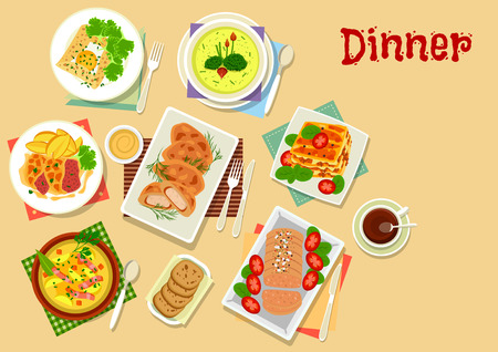 Meat and potato dishes for lunch icon with chicken in potato batter, beef chop with cheese, pancake with egg, potato bacon soup, beef pumpkin lasagna, potato cream soup, liver pate Illustration