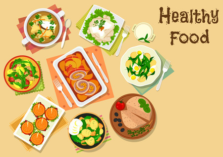pickles: Appetizers and potato salad icon of hamburgers, meat roll with apple, chicken with sauce, potato salads with tomato, egg, sausage, tuna and bean, chicken liver pate with olive, beef soup with pickles Illustration