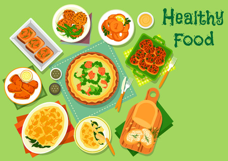Vegetable and fish dishes icon with salmon broccoli pie, fish chop with cheese, fish potato casserole with spinach, vegetable and herring spread sandwiches, carrot pancake, battered squid ring