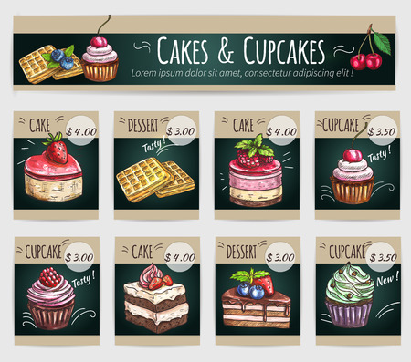 bakery price: Desserts price cards set. Vector sketch cake with fruits and berries, crispy wafer, chocolate muffin, creamy pie, souffle cupcake, sweet biscuit mousse. Dessert menu banner for bakery shop, cafe, cafeteria, patisserie