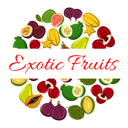 tropical drink: Exotic fruit circle poster. Tropical papaya, feijoa, carambola, passion fruit, lychee, dragon fruit, fig and durian. Food and drink label, tropical dessert and cocktail menu design