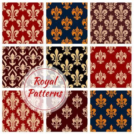 fleurdelis: Royal flowery fleur-de-lis patterns set. Vector flourish fleur-de-lys background of decorative flower ornament. Luxury floral ornate, damask pattern decoration tiles