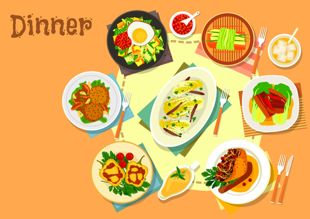 Main lunch dishes icon of fried egg with vegetable and bacon, stuffed pepper with beef and cheese, baked pork, chinese cabbage with anchovy, steamed fish, cabbage cutlet with mushroom, stuffed goose